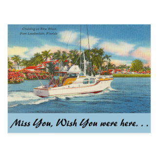 Florida, Ft. Lauderdale, New River Postcard