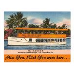 vintage, post card, travel, ft. lauderdale, river,
