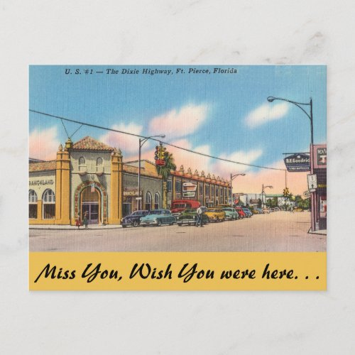 Florida Ft Pierce The Dixie Highway Postcard