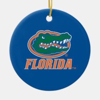 Florida Gator Head - Orange White Ornament