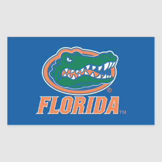 Florida Gator Head - Orange & White Rectangular Sticker