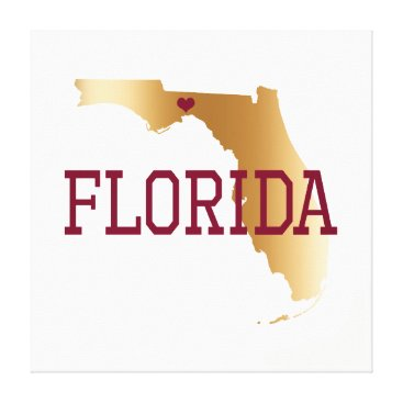 USA Themed Florida Gold and Garnet with State Capital Canvas Print