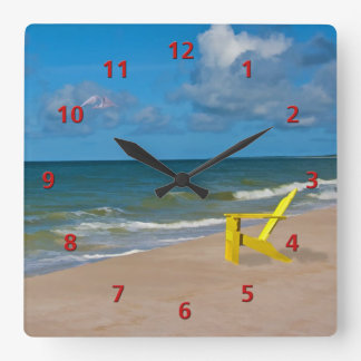Florida Gulf Coast Beach with Empty Chair Square Wall Clock