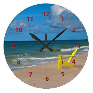 Florida Gulf Coast Beach with Empty Chair Clock