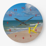 Florida Gulf Coast Beach with Empty Chair Large Clock