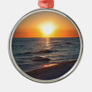 Florida gulf coast sunset metal ornament