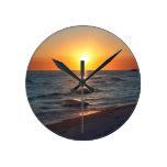Florida gulf coast sunset round clocks