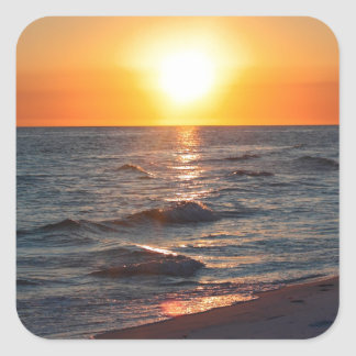 Florida gulf coast sunset square sticker