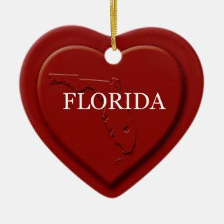 Florida Heart Map Christmas Ornament