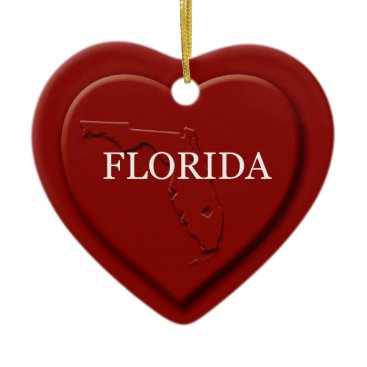 Valentines Themed Florida Heart Map Christmas Ornament