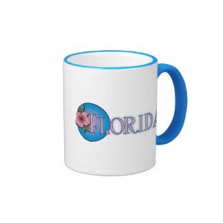 Florida Hibiscus Pink & Blue Ringer Mug