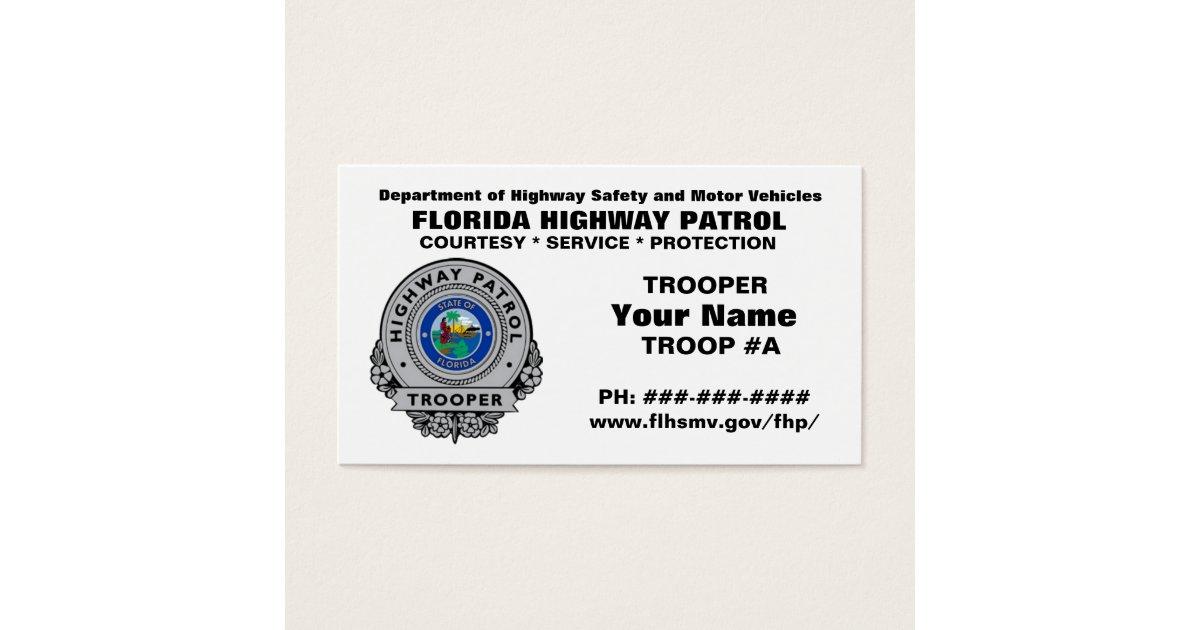 Florida Highway Patrol FHP Business Card   Zazzle.com
