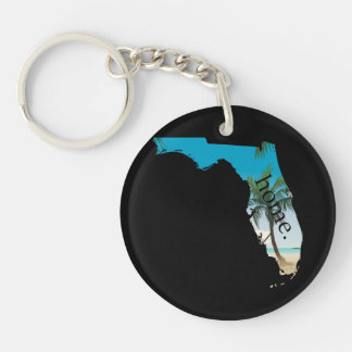 FLORIDA Home  Beach Ocean Palm Tree Filled Keychain