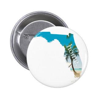 FLORIDA Home  Beach Ocean Palm Tree Filled Pinback Button