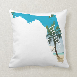 FLORIDA Home  Beach Ocean Palm Tree Filled Throw Pillow