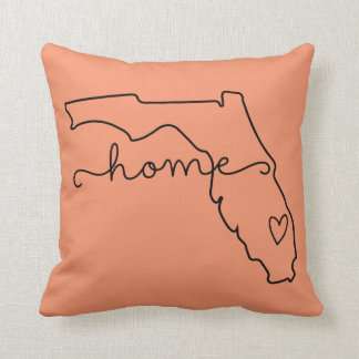 Florida Home State Love, Movable Location Heart Throw Pillow