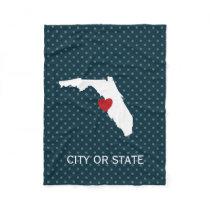 Florida Home State Map - Custom Wedding Names Fleece Blanket