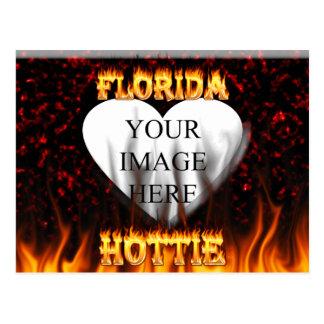 Florida hottie fire and flames design. postcard