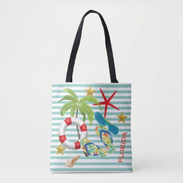 Beach Themed Florida Images on Teal Stripes Tote Bag