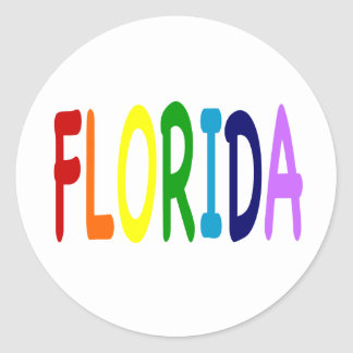 FLORIDA in a  rainbow of colors Classic Round Sticker