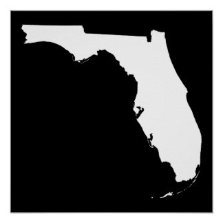 Florida in White and Black Print