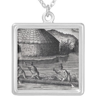 Florida Indians Storing their Crops Silver Plated Necklace
