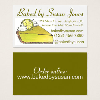 Florida Key Lime Pie Bakery Baked By Pastry Chef Business Card
