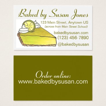 Professional Business Florida Key Lime Pie Bakery Baked By Pastry Chef Business Card