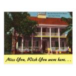 vintage, post card, travel, florida, key west,