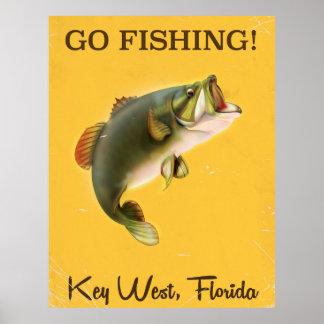 Florida Key West vintage fishing poster