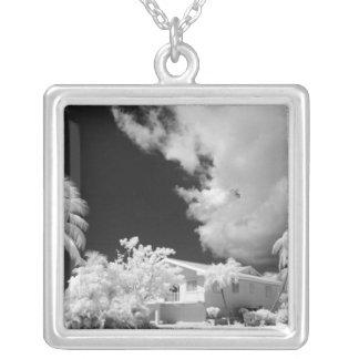 Florida Keys house and its palm trees, USA. Custom Necklace