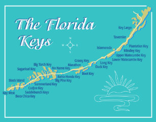 The Florida Keys Map.Florida Keys Map Posters Photo Prints Zazzle