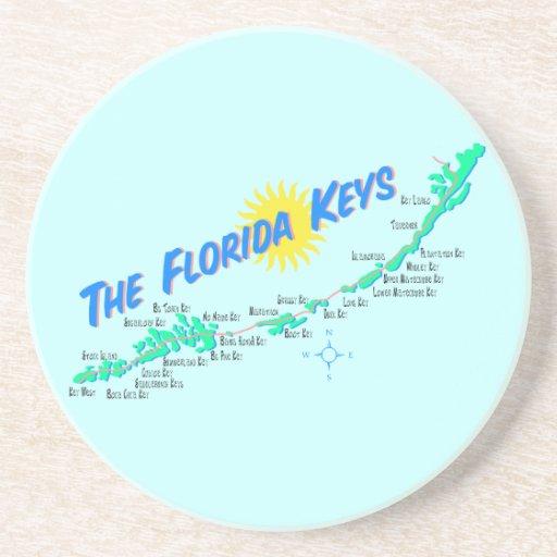 Florida Keys Map retro illustration Beverage Coaster