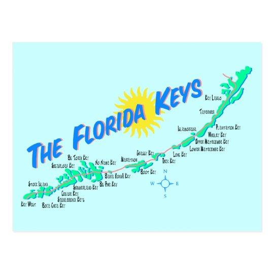 Florida Keys Map retro illustration Postcard
