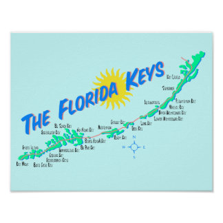 Florida Keys Map retro illustration Poster