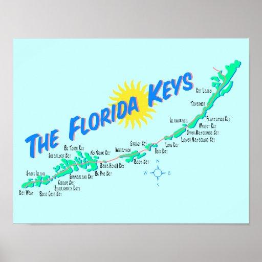 Florida Keys Map retro illustration Posters