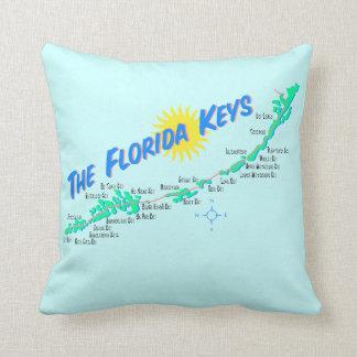 Florida Keys Map retro illustration Throw Pillow