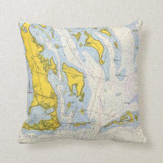 Florida Keys nautical chart map Throw Pillow