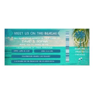 Florida Keys On the Beach Wedding Boarding Pass Card