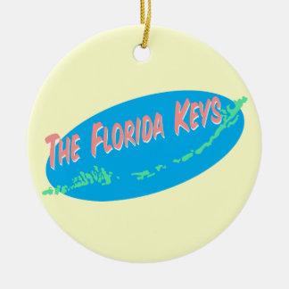 Florida Keys retro map art Ceramic Ornament