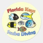 Florida Keys Scuba Diving Round Sticker