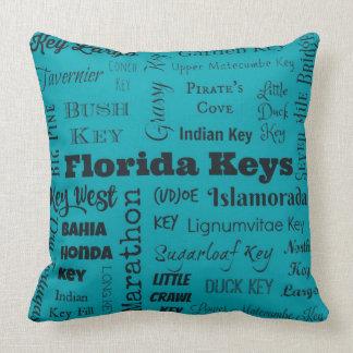 Florida Keys throw pillow in turquoise/black