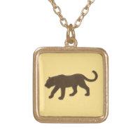 Florida Leopard Gold Square Pendant Necklace