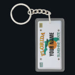 "Florida License Plate Keychain<br><div class=""desc"">Insert your name (or any other text,  as long as it fits). More items with this design:  www.zazzle.com/aura2000/floridalicenseplate</div>"