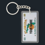 """Florida License Plate Keychain<br><div class=""""desc"""">Insert your name (or any other text,  as long as it fits). More items with this design:  www.zazzle.com/aura2000/floridalicenseplate</div>"""