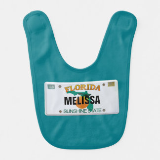 Florida License Plate with Baby's Name Bib