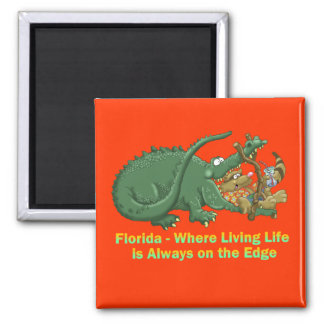 Florida - Living Life on the Edge Alligator and Ra 2 Inch Square Magnet