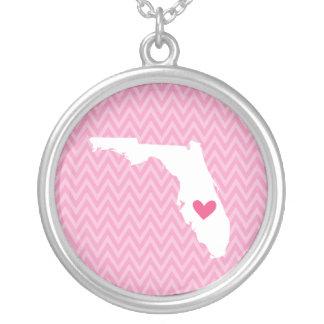 Florida Love Chevron State Map Round Pendant Necklace