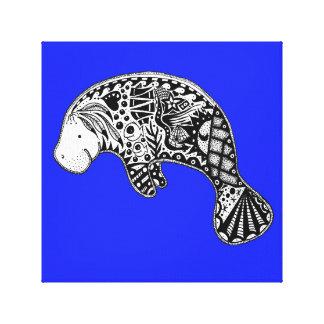 Florida Manatee on Blue Canvas Print