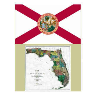 Florida Map and State Flag Postcard